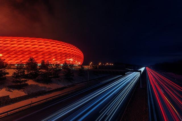 osvětlený stadion