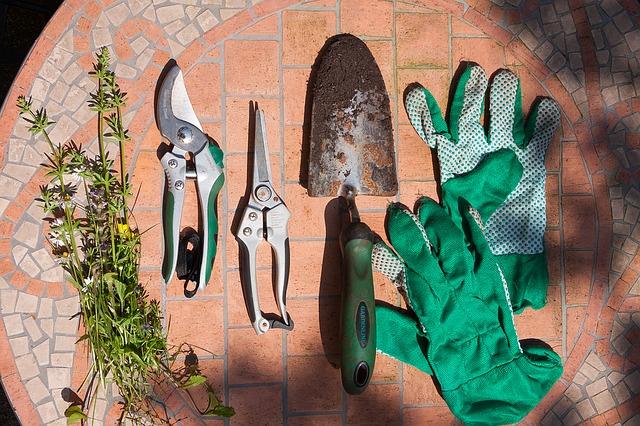 Zahradnické nůžky, lopatka, rukavice-ležící na trávě