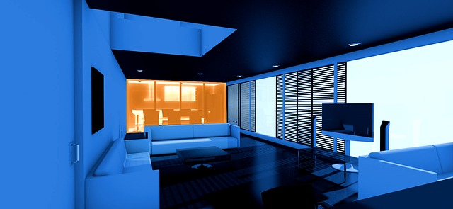 modrý interiér
