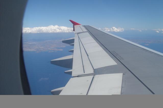 výhled z okénka letadla při letu